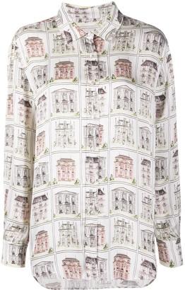 L'Autre Chose House-Print Long-Sleeve Shirt