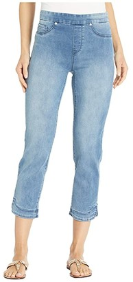 Tribal Pull-On Capris w/ Curved Side Slit (Blue Mist) Women's Casual Pants
