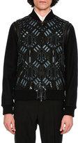 Valentino Love Blade Leather & Wool Bomber Jacket, Black