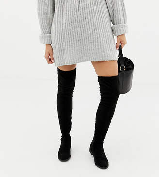 Asos Tall DESIGN Wide Fit Tall kaska flat studded over the knee boots-Black