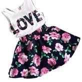 Changeshopping Kids Girls 1Set Love Letters Printed Sleeveless Vest with Floral Skirt Clothes