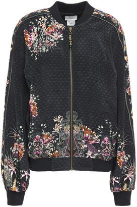 Camilla Crystal-embellished Printed Silk-cady Bomber Jacket