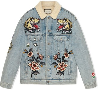Gucci Oversize denim jacket with patches