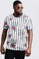 BoohooMAN Big & Tall Floral Stripe Print T-Shirt