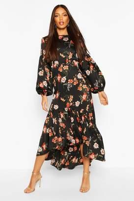 boohoo Floral Print Puff Sleeve Midaxi Dress