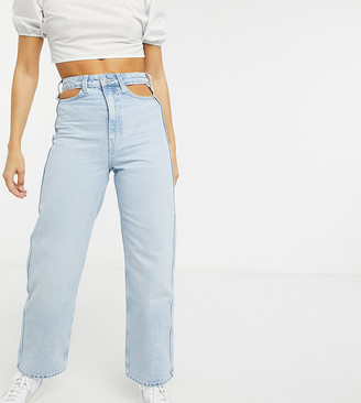 Weekday Lasso cut-out detail mum jeans in fresh blue