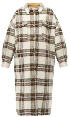 Etoile Isabel Marant Gabrion Oversized Checked Wool-blend Blanket Coat - Womens - Ivory Multi