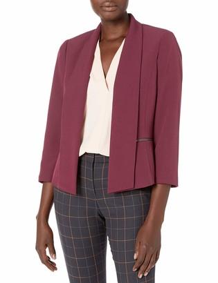 Kasper Women's Stretch Crepe Fly Away Jacket with Zipper Details