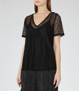 Reiss Everly Lace T-Shirt