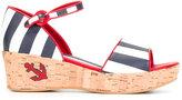 Dolce & Gabbana striped sandals - kids - Cork/Lamb Skin/Leather/rubber - 37