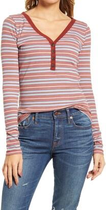 Madewell Women's Stripe Fine Ribbed Henley Tee