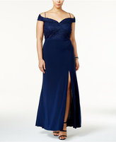 Night Way Nightway Plus Size Glitter Lace Off-The-Shoulder Gown
