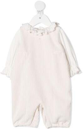 La Stupenderia Ruffle Top And Dungaree Set