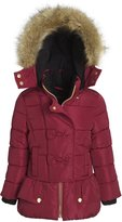 Sportoli Girls' Fleece Lined Hooded Puffer Coat Fashion Detailed Dressy Parka