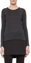 Akris Punto Women's Silk Hem Tricolor Stripe Wool Tunic