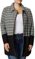 Junarose Plus Colorblock Herringbone Wool Blend Jacket