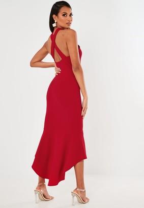 Missguided Red Halterneck Frill Hem Midi Dress