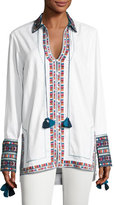 Talitha Collection Embroidered Cotton Button-Front Tunic, Ivory