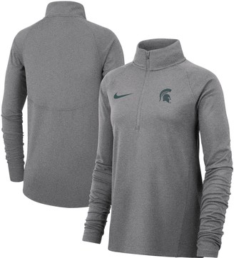 Nike Women's Heathered Gray Michigan State Spartans Element Essential Performance Half-Zip Pullover Jacket