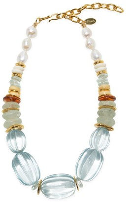 Lizzie Fortunato Villa Goldplated, 13-14MM Freshwater Pearl & Multi-Beaded Necklace