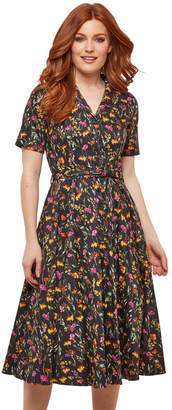 Joe Browns Cotton Flared Midi Shirt Dress in Floral Print