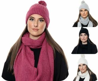 Voice 7 Women 2pc Winter Wool Set (Knitted Hat + Scarf) Warm & Thick Woolen Soft Cozy Woolen Woolly (Cream)