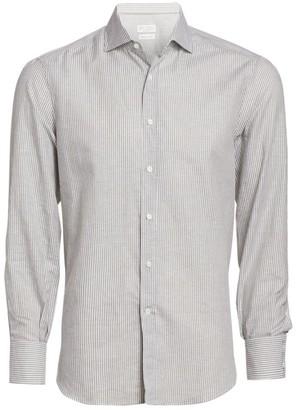 Brunello Cucinelli Stripe Linen & Cotton Shirt