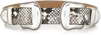 B-Low the Belt B Low The Belt double buckled reptile pattern belt