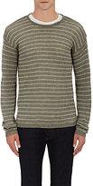 John Varvatos Men's Striped Crewneck Sweater-DARK GREEN