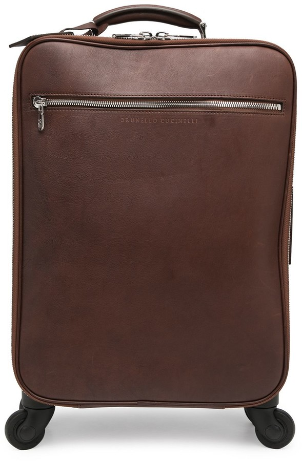 Brunello Cucinelli Grained Leather Wheeled Luggage