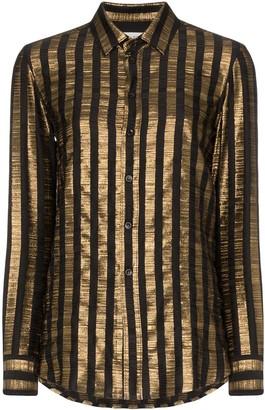 Saint Laurent Vertical-Stripe Long-Sleeved Shirt