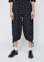 Comme des Garcons Navy Flower Embroidery Drawstring Pant