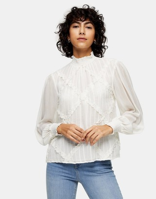 Topshop lace trim blouse in ecru