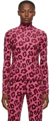 Ambush Pink Wool Leopard Turtleneck
