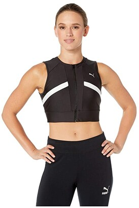 Puma Chase Full Zip Crop Top Black 2) Women's Clothing