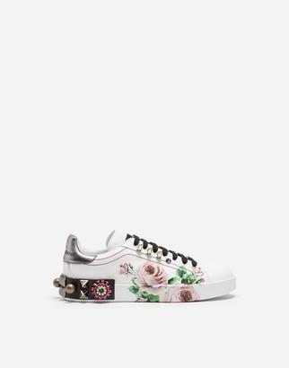 Dolce & Gabbana Portofino Sneakers In Printed Calfskin With Appliques