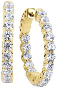 "Arabella Swarovski Zirconia Small In & Out Hoop Earrings in xk Gold-Plated Sterling Silver, 0.75"""