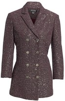 St. John Sequin Tweed Double-Breasted Jacket