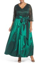 Eliza J Plus Size Women's Lace & Taffeta Gown