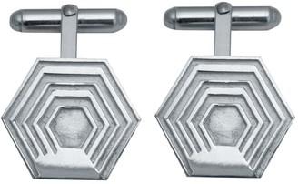 Edge Only Hexagon Cufflinks In Silver
