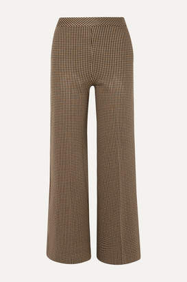 Rosetta Getty Houndstooth Jacquard-knit Straight-leg Pants - Brown