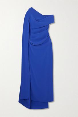 Talbot Runhof Rosedale Draped Cape-effect Crepe Gown - Indigo
