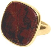 Wouters & Hendrix Women's Yellow Gold Plated 925 Sterling Silver Red Moss Agate Ring - Size - 5