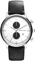 Emporio Armani Watch, Chronograph Black Leather Strap 43mm AR0385
