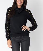 Yuka Paris Black Embellished Ruched-Sleeve Cowl Neck Sweater