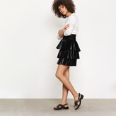 Maje Leather-look ruffled skirt