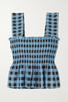 Ganni Smocked Checked Cotton And Silk-blend Peplum Top - Blue