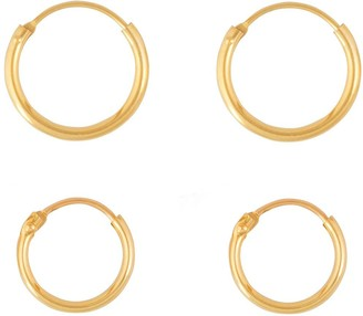 Love Gold 9ct Gold Set of Two 11mm & 13mm Hinged Hoop Earrings