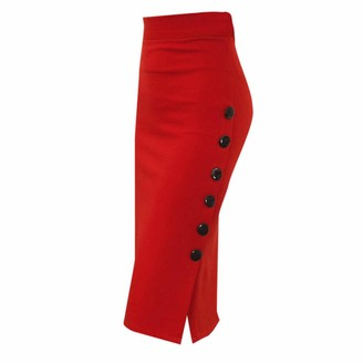 AOGOTO Womens Button Split Office Skirt Pencil Skirt Ladies High Waisted Plus Size Skirts Red