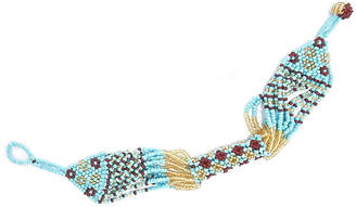 Fiona fiona Women's Bracelets Tuquoise, - Light Blue & Brown Seed Bead Bracelet